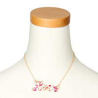 Floral Love Nameplate Pendant Necklace