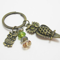 Bronze Owl with Green Gem Eyes Keychain Picasso Czech Rondelles