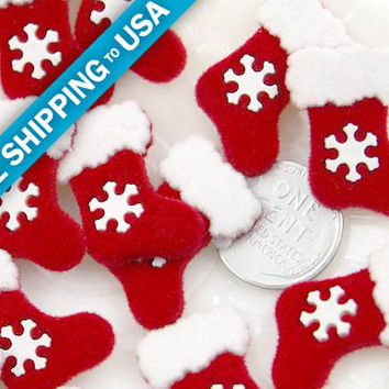 25mm Fuzzy Christmas Stocking Resin Cabochons  6 pc by delishbeads