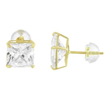 10k Gold Princess Cut 6mm Simulated Diamond 2.50ct Look Stud Earrings
