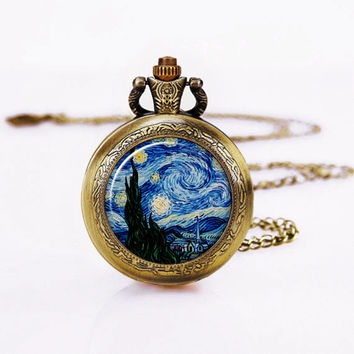 "Vintage Tardies Necklace,Pocket Watch ,Handmade Vintage Necklace,1"" Round Art Glass,Sweater Necklace"