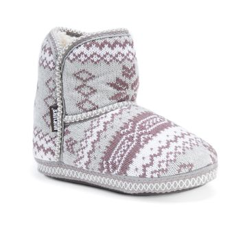 Muk Luks Women's Polyester/ Acrylic Short Knit Patterned Bootie | Overstock.com Shopping - The Best Deals on Slippers