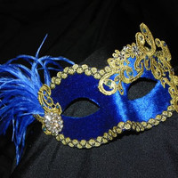 Lace and Feather Masquerade Mask in Royal Blue and Gold