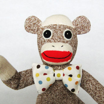 Sock monkey boy brown classic Rockford Red Heel stuffed toy animal Lionel custom polka dot bow tie happy gift baby shower for boy or girl
