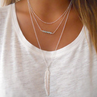 Stylish Jewelry Gift Shiny New Arrival Tassels Simple Design Crystal Metal Feather Necklace [8451549197]