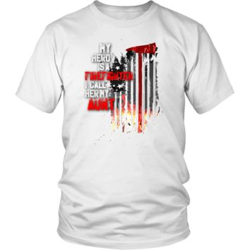 Men's Thin Red Line American Flag Firefighter Aunt T-Shirt