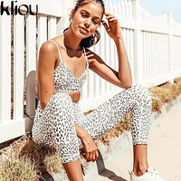 Kliou 2018 New Leopard Sexy Camis And Leggings Female Fitness Two Pieces Sets Push Up Sporting Pants Strap Sporting Bra Tanksuit