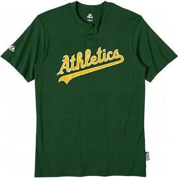 Oakland A's (Athletics) (ADULT SMALL) Two Button MLB Officially Licensed Majestic Majo