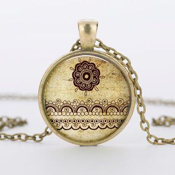Vintage round glass Henna tattoo flower necklaces pendants and necklaces India Henna mandala necklace women jewelry HZ1