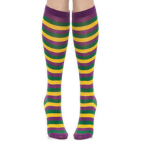 Mardi Gras Thin Striped Socks