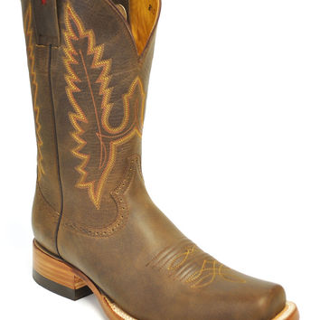 Gavel Handcrafted Men's Crazyhorse Square Toe Stockman Cowboy Boots