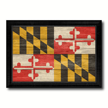 Maryland State Flag Texture Canvas Print with Black Picture Frame Home Decor Man Cave Wall Art Collectible Decoration Artwork Gifts