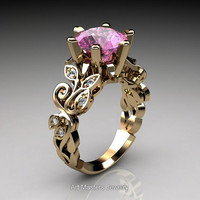 Nature Inspired 14K Yellow Gold 3.0 Ct Light Pink Sapphire Diamond Leaf and Vine Crown Solitaire Ring RD101-14KYGDLPS