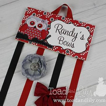 HAIR BOW HOLDER Personalized Red Owl HairBow Clippies Organizer HB0112