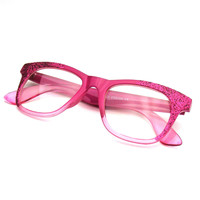 Womens Glitter Sparkle Novelty Color Fade Wayfarer Glasses