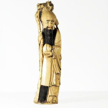 Chinese Statue Vintage Bone Carving Faux Ivory Figurine