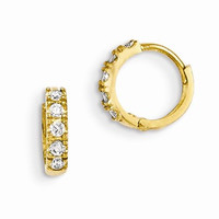 14k Yellow Gold CZ Childrens Hinged Hoop Earrings