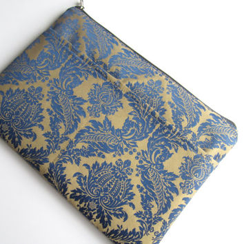 Blue damask MacBook sleeve 13 with zipper and pocket, MacBook Pro 13 sleeve, Mac Air 13 Case, Mac Pro 13 Retina sleeve, MacBook Air 11 Case