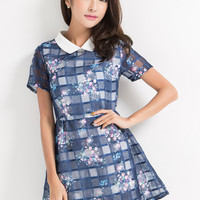 Blue Printed Mesh Mini Dress with Polo Collar