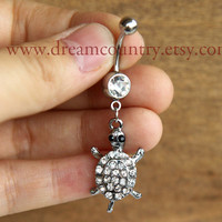 Silver Turtle Belly Button Ring,