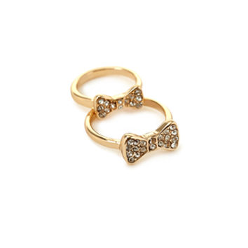 FOREVER 21 Rhinestone Bow Midi Ring Set Gold/Clear