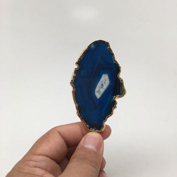 109 cts Blue Agate Druzy Slice Geode Pendant Gold Plated From Brazil, Bp1060