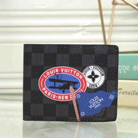 """Louis Vutitton"" Men Purse Fashion Personality Multicolor Tartan Pattern Short Section Multi-card Bit Fold Wallet"