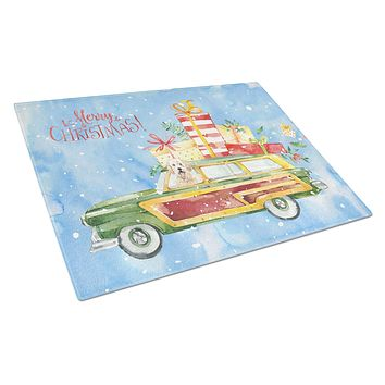 Merry Christmas Goldendoodle Glass Cutting Board Large CK2406LCB