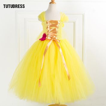 Tulle Flower Girl Princess Dress Belle Beauty Beast Cosplay Tutu Dress Kids Party Carnival Christmas Halloween Dress Costumes