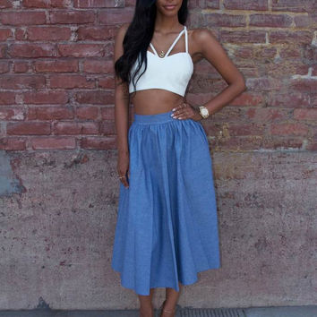 White Strappy Cropped Top and Blue Midi Skirt