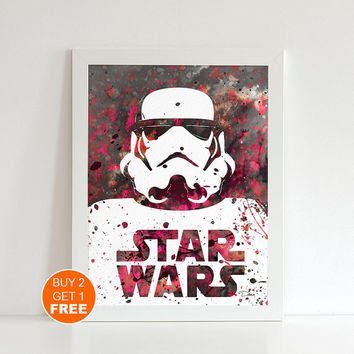 Storm Trooper print Stormtrooper Star Wars print, watercolor illustration, Stormtrooper poster, geek art print,  Stormtroopers print