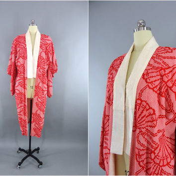 Vintage 1930s Kimono Robe / Dressing Gown Wedding 30s Lingerie / Downton Abbey Art Deco / Japanese Juban / Red Fans Shibori