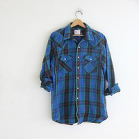 Vintage blue and green boyfriend flannel / pearl snaps shirt / grunge shirt / tomboy shirt / plaid flannel