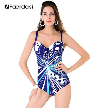 Faerdasi 2017 New Arrival Sexy Plus Size One Pieces Swimming Suit Floral Print Swimwear Adjustable Straps Bathing Suit FD81636