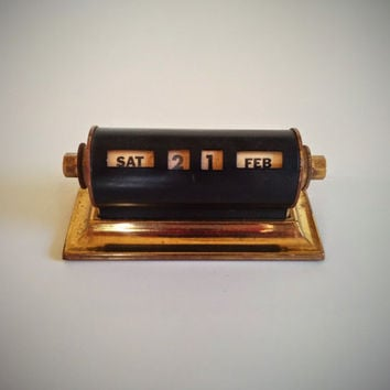 1950's Perpetual Desk Calendar Black with Brass Accents