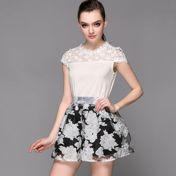 Lace Embroidered Floral Short Sleeve Mini A-Line Dress