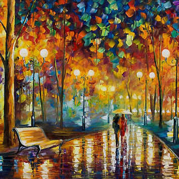 """Rain Rustle - Original Oil On Canvas by Leonid Afremov"" by Leonid Afremov 
