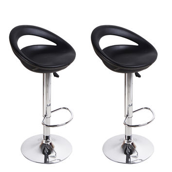 Adeco Black Round Hydraulic Lift Adjustable Half Back Barstool Chair PVC Covered Chrome Finish Pedestal Base (Set of two)