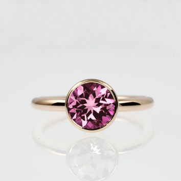 pink tourmaline ring, rose gold, engagement ring, bezel, solitaire, tourmaline, pink engagement, tourmaline engagement, red gold, simple
