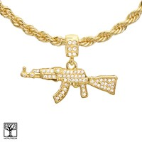 "Jewelry Kay style Men's 14K Gold Plated Fully Iced Gun Pendant 22"" / 24"" Chain Necklace HC 1164 G"