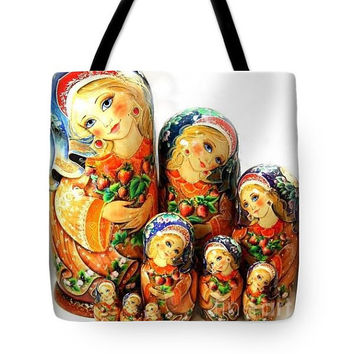 Art Tote Bag traditional Russian nesting doll tote bag double side image tote bag unique tote art bag