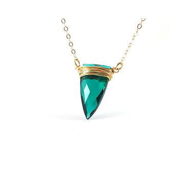 Emerald Green Wire Wrapped Briolette Necklace