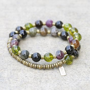 Watermelon Tourmaline and Peridot Mala Bracelet