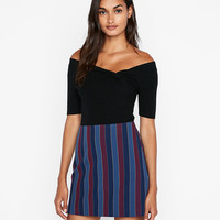 High Waisted Large Stripe Clean A-line Mini Skirt