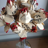 3 up-cycled Makers Mark bourbon bottle label origami flowers
