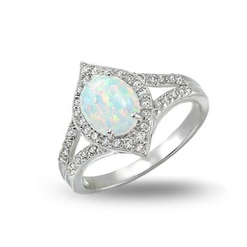 Simulated Opal and Cubic Zirconia Oval Fashion Split Shank Ring