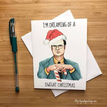 Rainn Wilson Dwight Schrute The Office Funny Christmas Card Holiday Card FREE SHIPPING