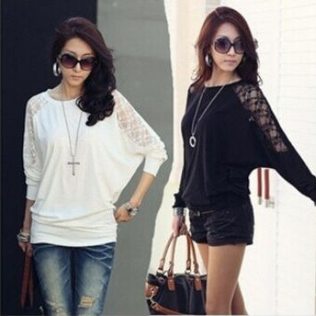 2014 Spring New Fashion Women's Long Sleeve Crew Neck Batwing Dolman Lace Casual Loose Blouse Tops Plus Size SML XL XXL = 1946512836