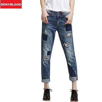 Plus Size 25-34 Boyfriend Jeans For Women Distressed Jeans Ripped Vintage Washed Denim Casual Pants Hole Patchwork Harem N2082