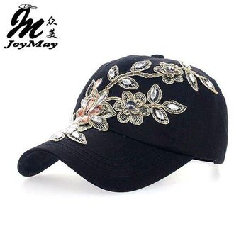 DCCKHY9 2016 Women Variety Rhinestone &Crystal Shining Studded Cotton Denim Visor Hat Bling Adjustable Baseball Caps Free Shipping B038